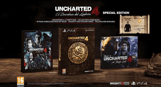 Uncharted 4 Edición especial + Chapas de regalo