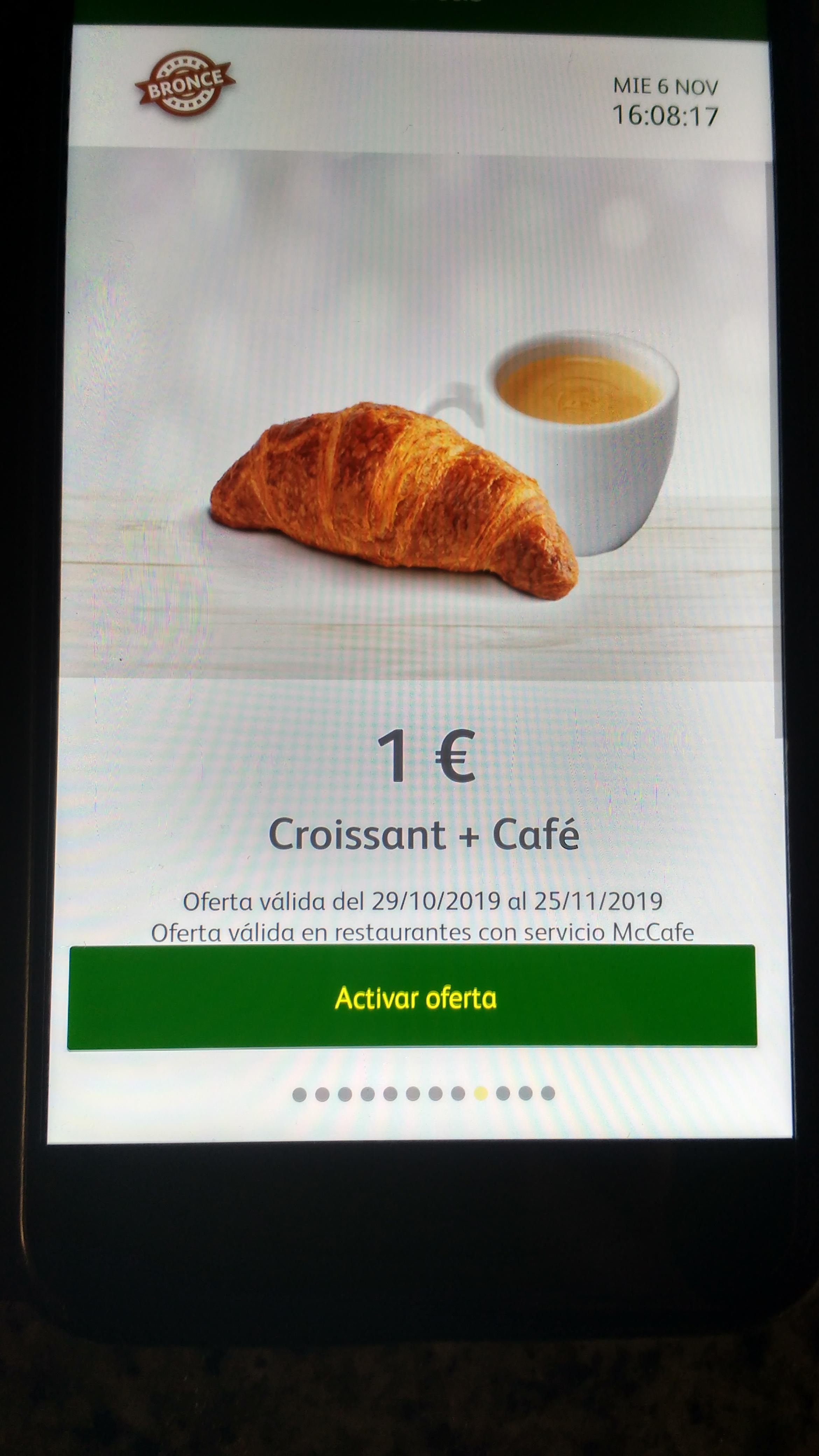 Café + croissant (galletas oreo fresa en algún mc Donalds por 1 euro
