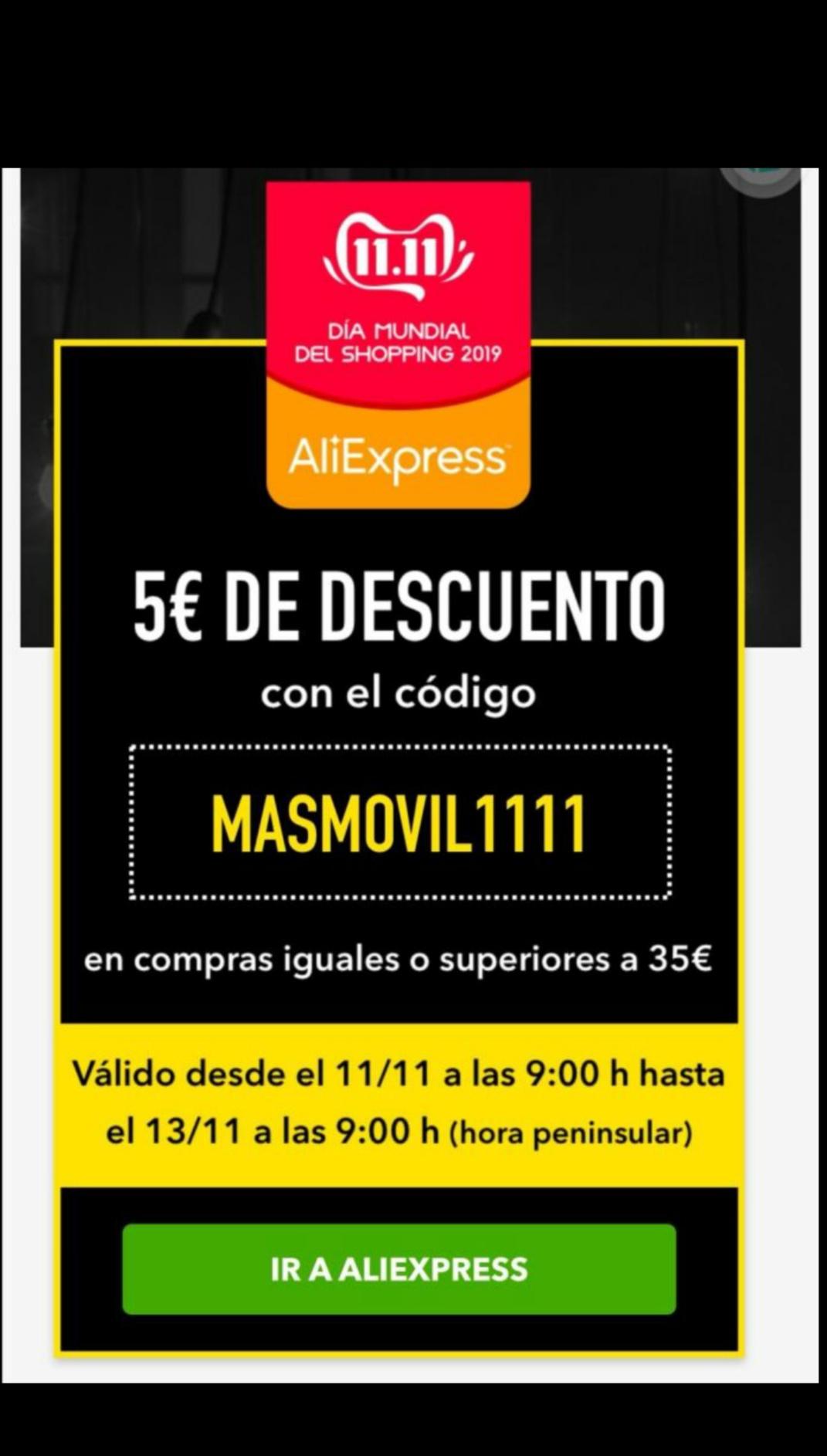 Cupón 5€ AliExpress para compras +35€ por ser de Masmovil