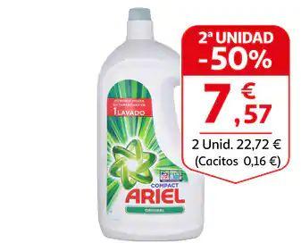 Ariel detergente líquido 2da unidad al 50%