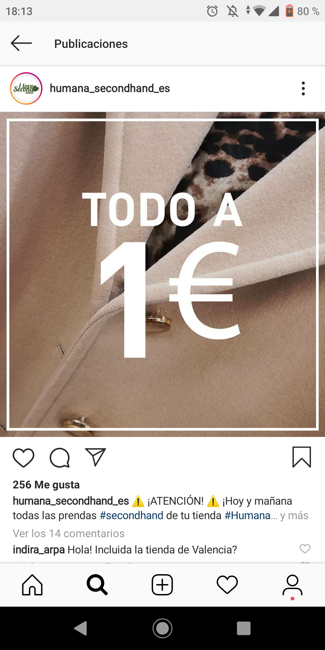 Ropa en tienda humana a 1€ hoy y mañana