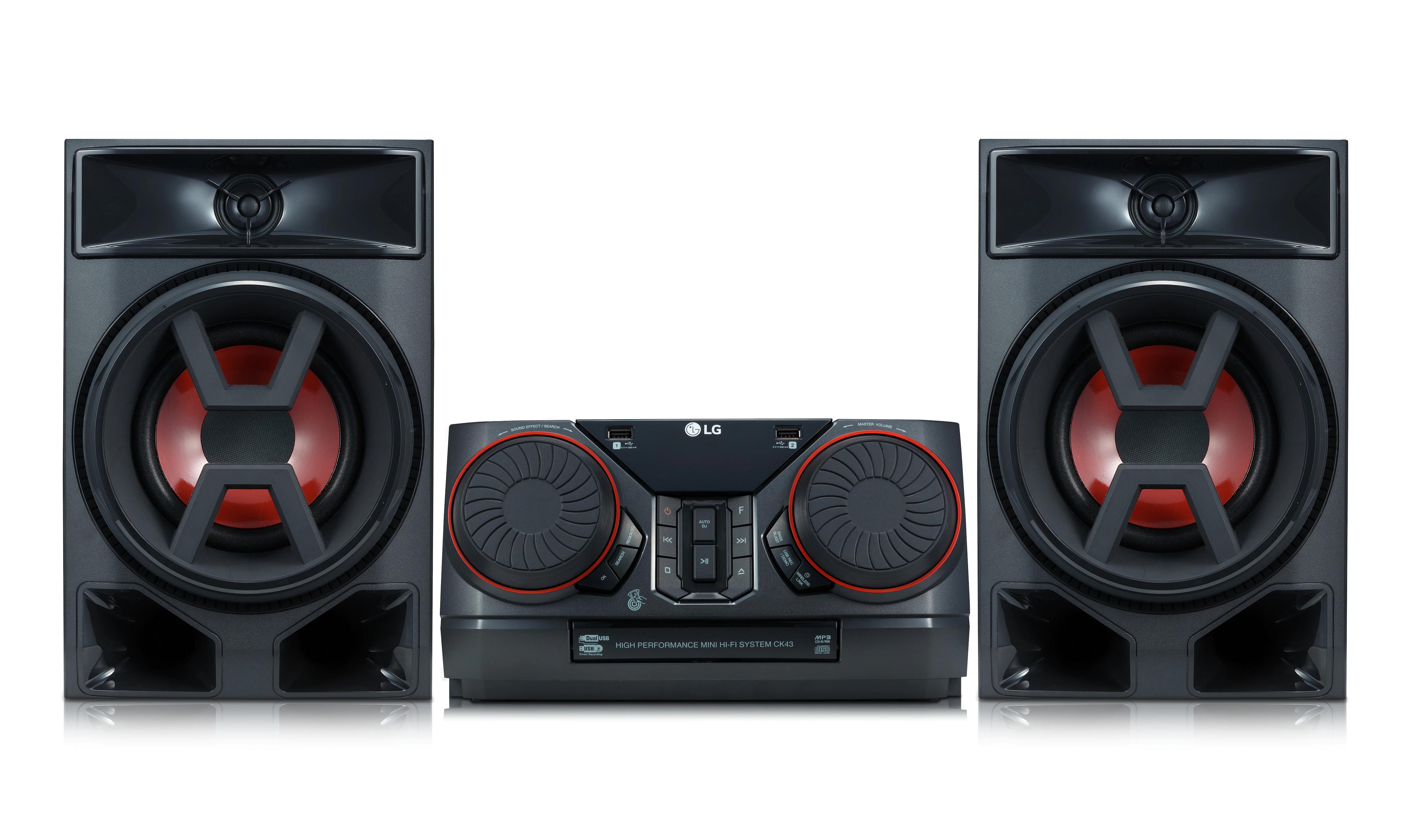 LG CK43 - Microcadena con 300W de potencia, Bluetooth, y funciones DJ