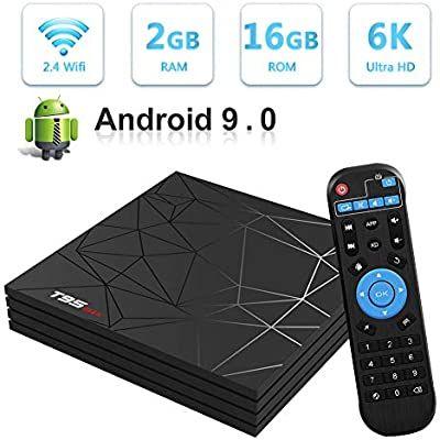 Android TV Box,T95 MAX Android 9.0 TV Box 2GB RAM/16GB ROM H6 Quad-Core Soporte 2.4Ghz WiFi 6K HDMI DLNA 3D Smart TV Box