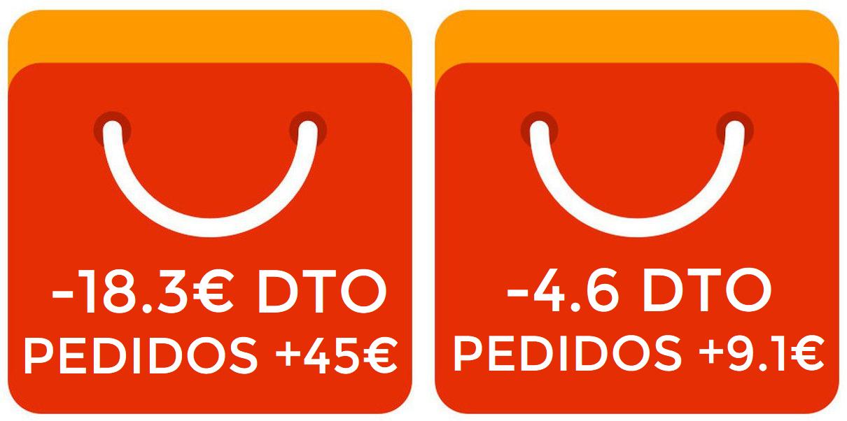 Cupones Aliexpress 4,60/9,19€ y 18,37/45,91€