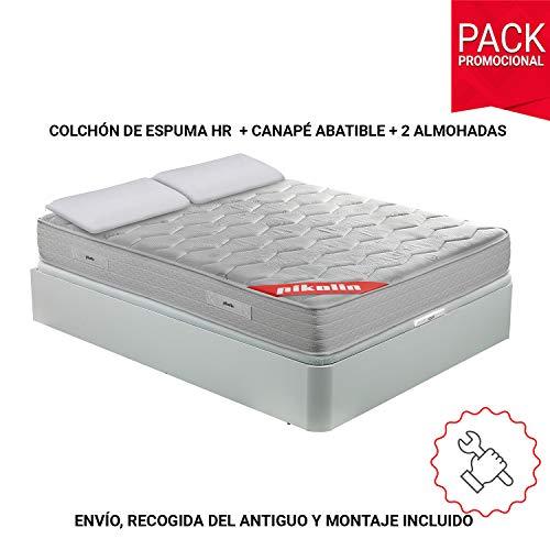 Cama Pikolin completa con colchón viscoelástico HR 135×190 + canapé abatible + 2 almohadas sólo 549.99€