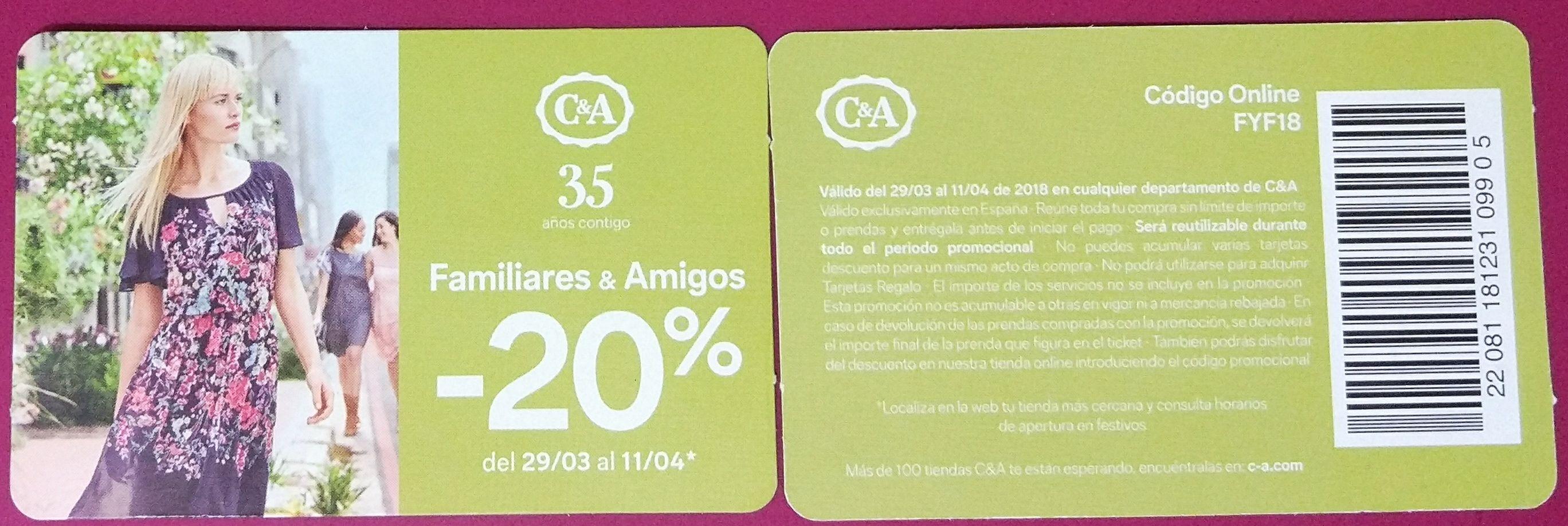 20% descuento en C&A (tienda y online)