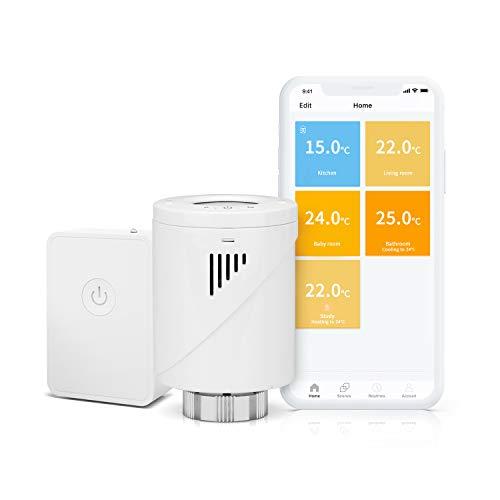 Válvula Termostática Wi-Fi Inteligente + Hub (Alexa/Google Assistant/IFTTT)