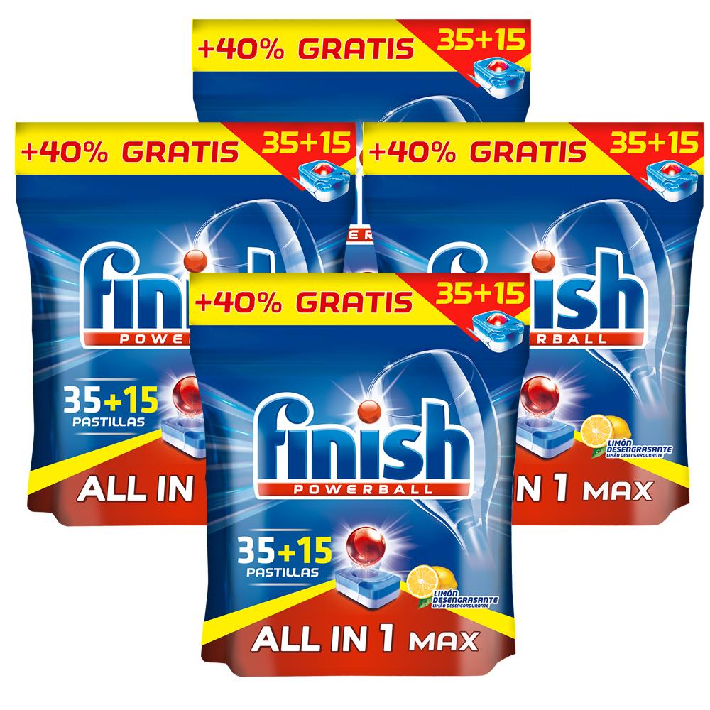 Finish 4x All in One 35+15 Pastillas Limón, Powerball Desengrasante