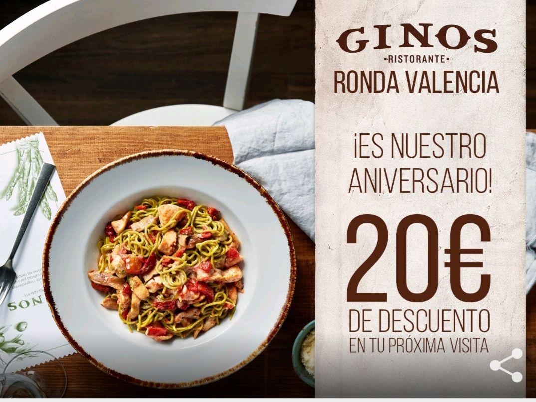 20€ de regalo en Ginos SIN MÍNIMO Ginos Madrid (socios platino)