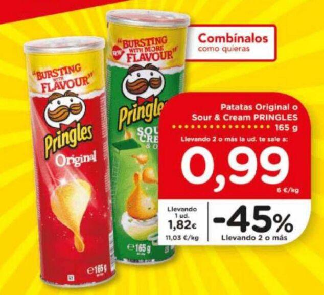 Patatas Pringles 165 g por 0,99€ y Tónica Schweppes 33cl por 0,29€