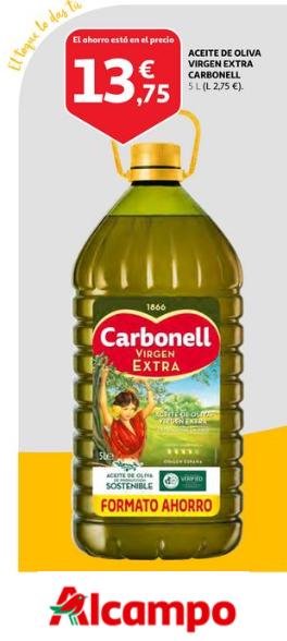 Aceite de Oliva Virgen Extra Carbonell 5L (2,75€/LITRO)