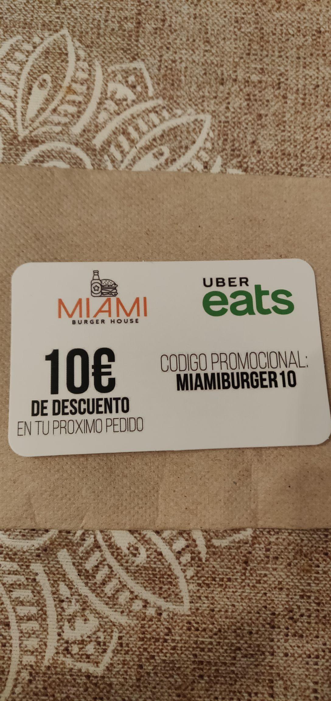 10€ Descuento UBER EATS Miami Burger House