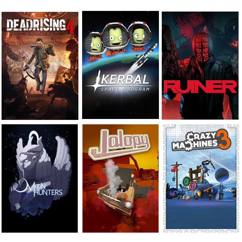 Deadrising 4 + Kerbal + Ruiner + Moon Hunters + Jalopy + Crazy Machines 3 = 11€