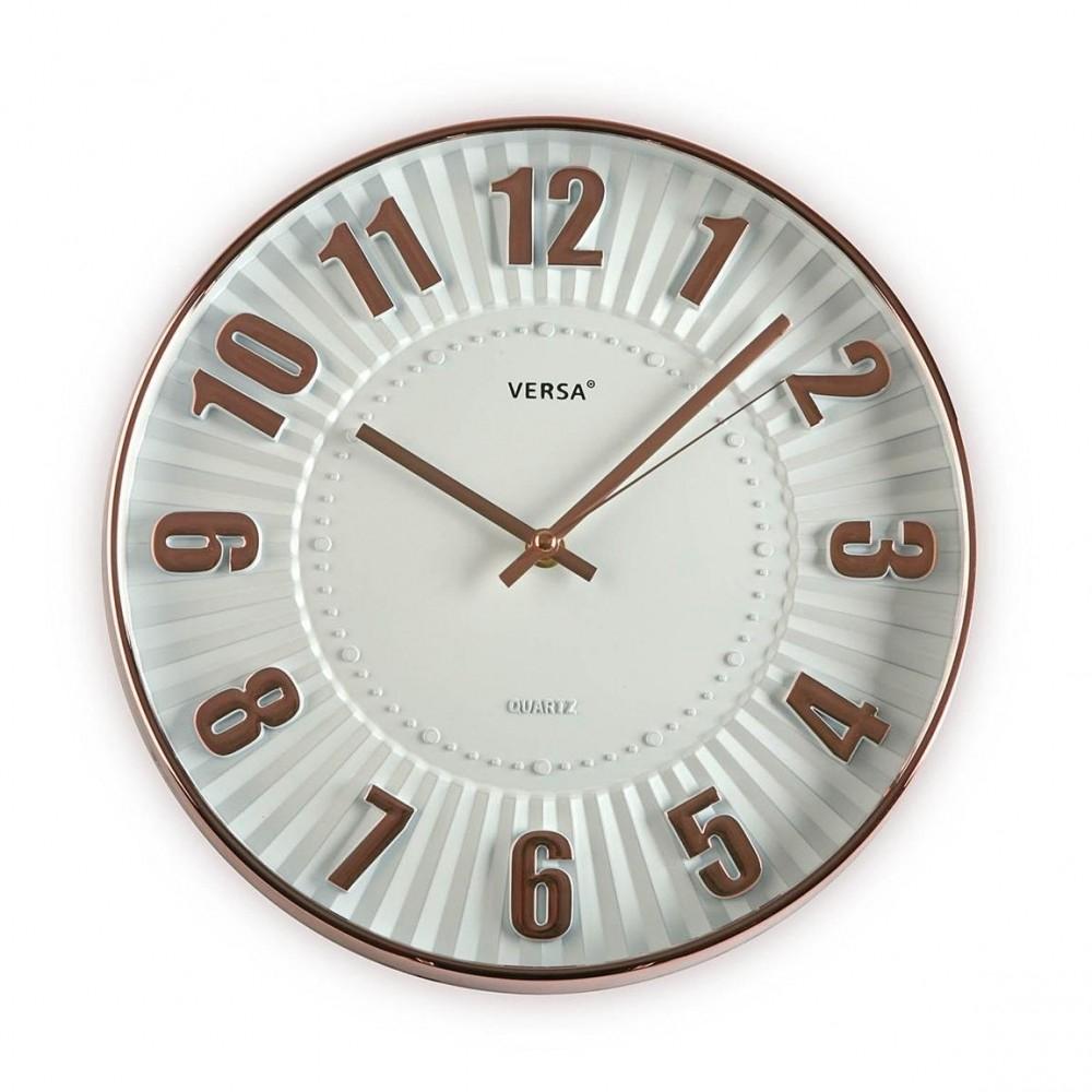 Versa 20550065 Reloj De Pared De Cocina Blanco/Cobre 30cm Diámetro