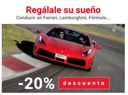 20%dto conducir un Ferrari o Lamborghini