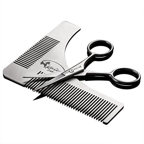 Pack de peine que peina barbas y tijeras para recortar.