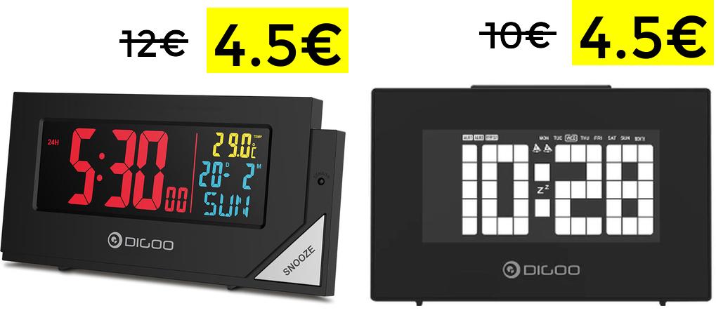 Reloj despertador con sensor luz 4.5€