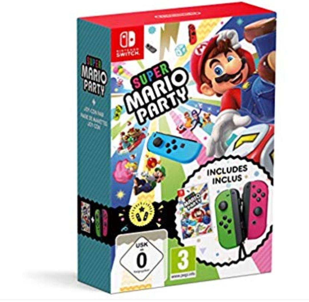Super Mario Party + Joy Con Verde (Neón) / Rosa (Neón)