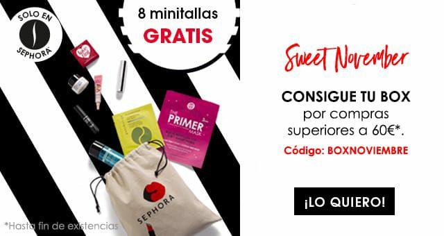 Sephora Caja con 8 minitallas gratis por compras superiores a 60€