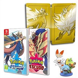 Pack Pokémon Espada + Pokémon Escudo + Steelbook + Figuras