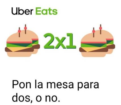 Vuelve 2x1 en Uber Eats