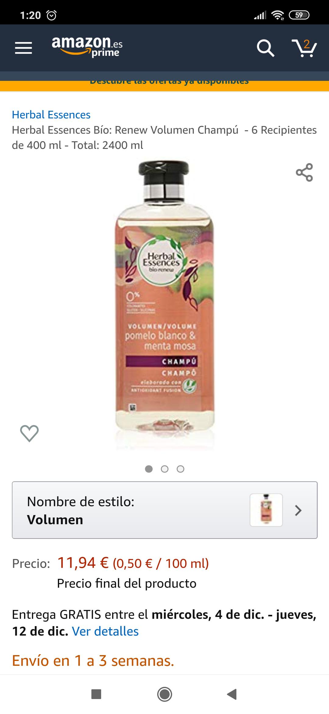 Herbal Essences Bío: Renew Volumen Champú - 6x3 (2400mL)
