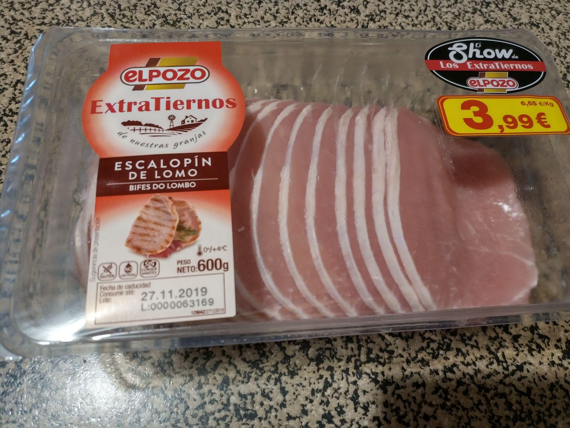 Escalopines de lomo Extratiernos El Pozo 600 gr Carrefour