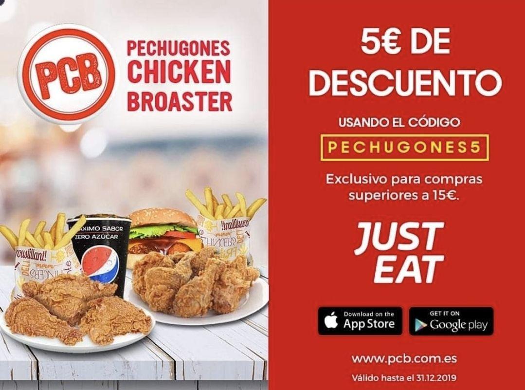 5€ de descuento en compras superiores a 15€ en el restaurante Pechugones Chicken Broaster con Just Eat (solo válido en Valencia)