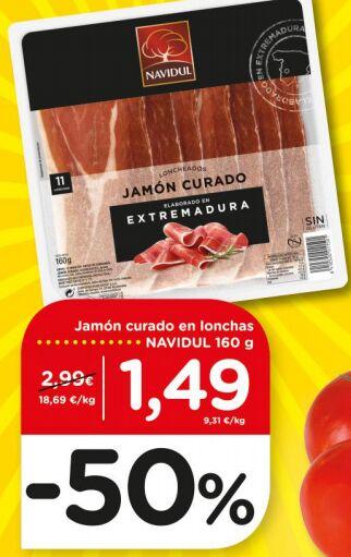 Jamón NAVIDUL loncheado 160 g a 9,3€/kg / Flor 72lav por 1,99€ y más ofertas en DIA