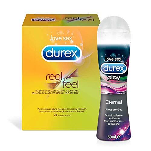 Pack Ahorro Durex Real Feel 24 Condones + Lubricante Durex Naturals