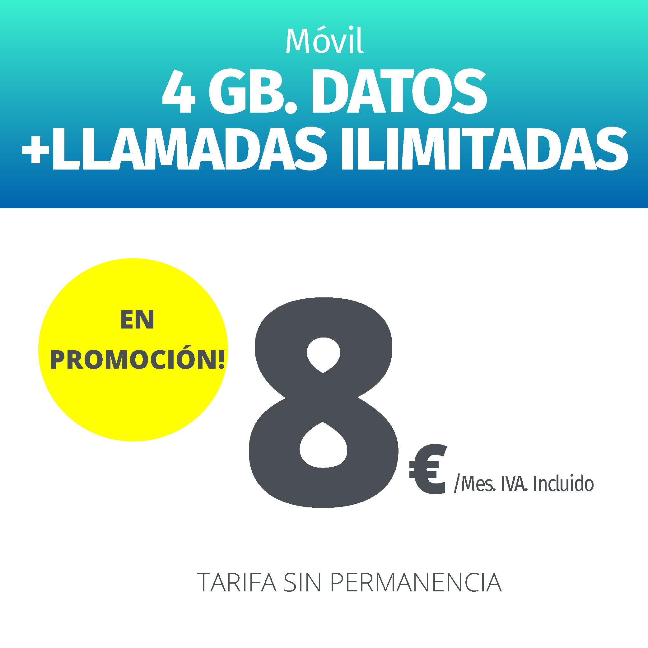 BLAVEO llamadas ilimitadas + 4 Gb de datos 8 €
