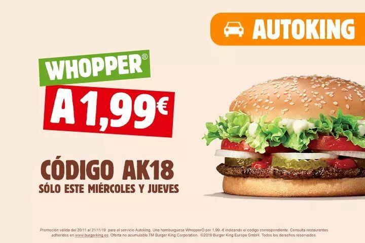 Whopper a sólo 1,99€ (Autoking)