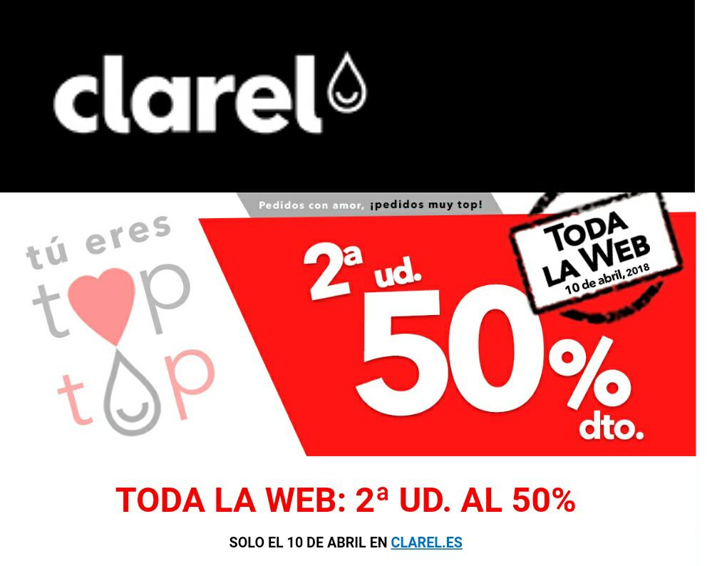 2° unidad al 50% en algunas categorías en Clarel.es
