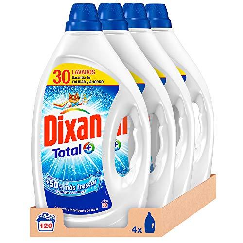 Detergente Dixan Gel, pack de 4 botellas de 30 lavados con antical y antimanchas