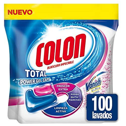 Detergente para la lavadora Colon Total Power Gel Caps con limpiamanchas Vanish, 100 lavados