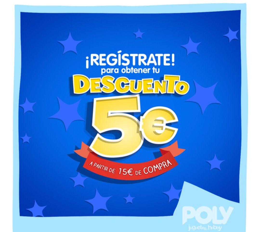Descuento de 5€ a partir de 15€ de compra en jugueterías Poly.
