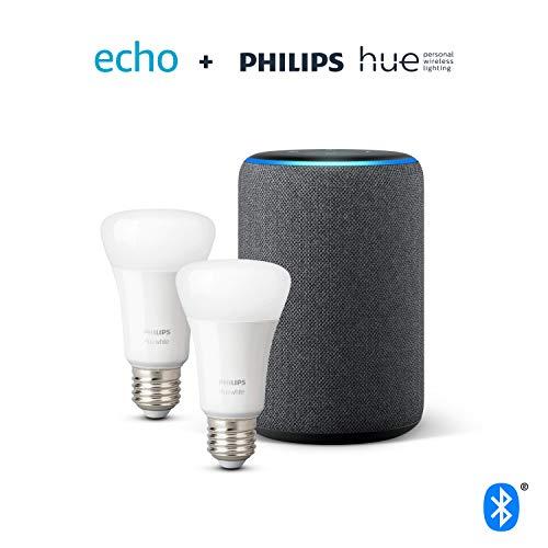 Amazon Echo 3 + 2 bombillas Philips White.