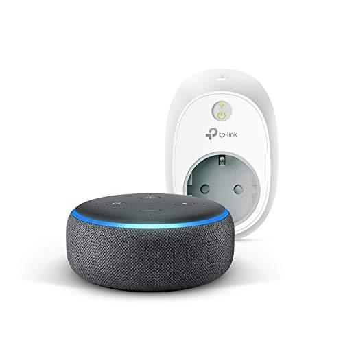 Echo Dot (3.ª generación), tela de color antracita + TP-Link HS100 Enchufe inteligente, compatible con Alexa