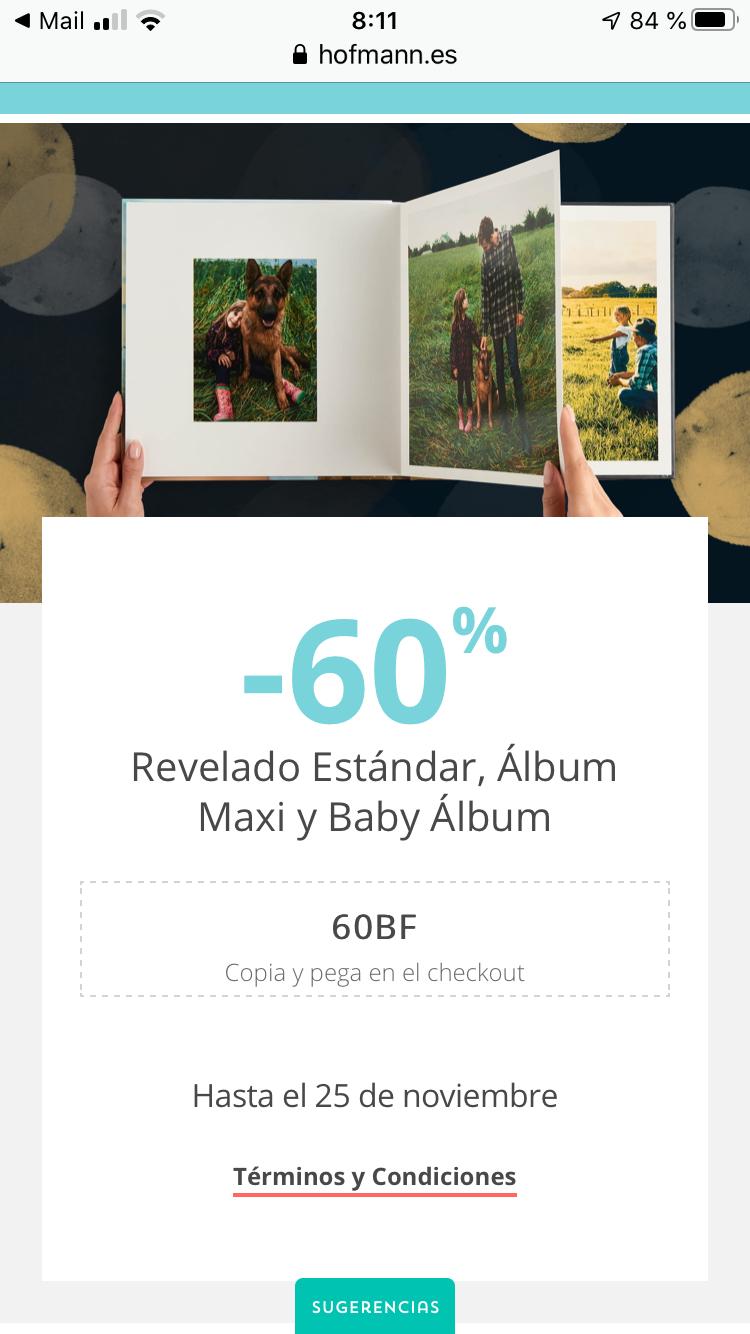 Hofman 60% descuento en Revelado Estándar, Álbum Maxi y Baby Álbum.