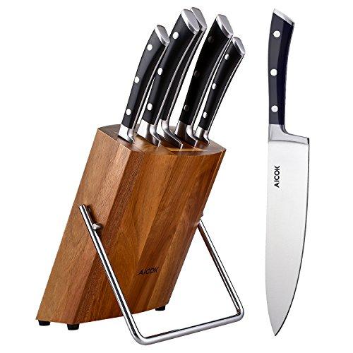 Aicok Juegos de Cuchillos , 5 Piezas de Cuchillo de Cocina y un soporte de Madera