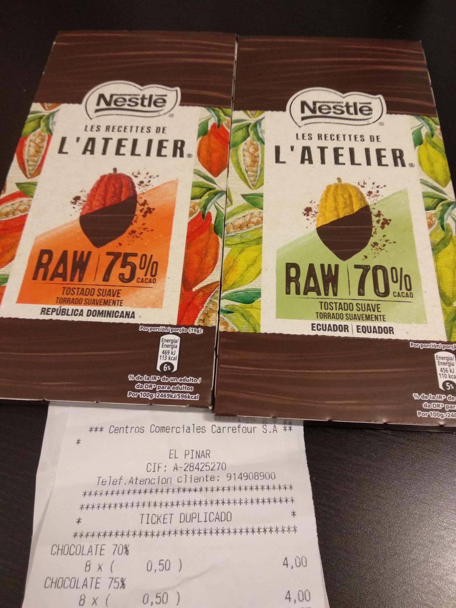 Chocolate negro Nestlé L'atelier a precio de derribo! (Carrefour del Pinar de las rozas)