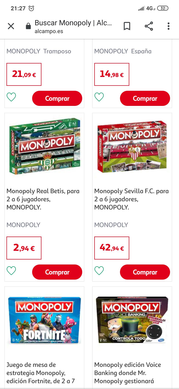 Monopoly de mi betis bueno barato (alcampo de Sevilla)
