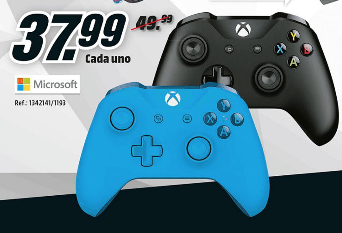 Mandos Xbox One azul y negro por 37,99€