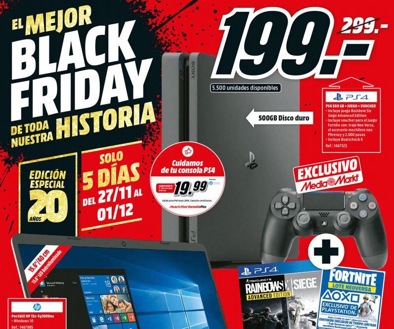 PS4 500 GB + Juego Rainbow Six Siege Advanced Edition + Voucher Fortnite