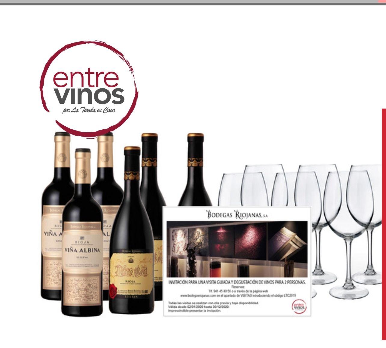 Caja 6 botellas 75 cl tinto Reserva 3 Viña Albina + 3 Monte Real + invitación bodega dos personas