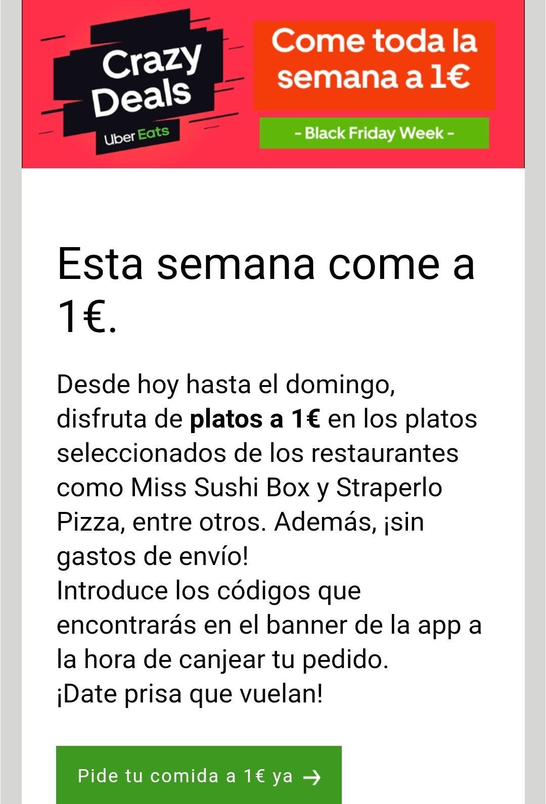 Come esta semana por 1€ en Uber Eats