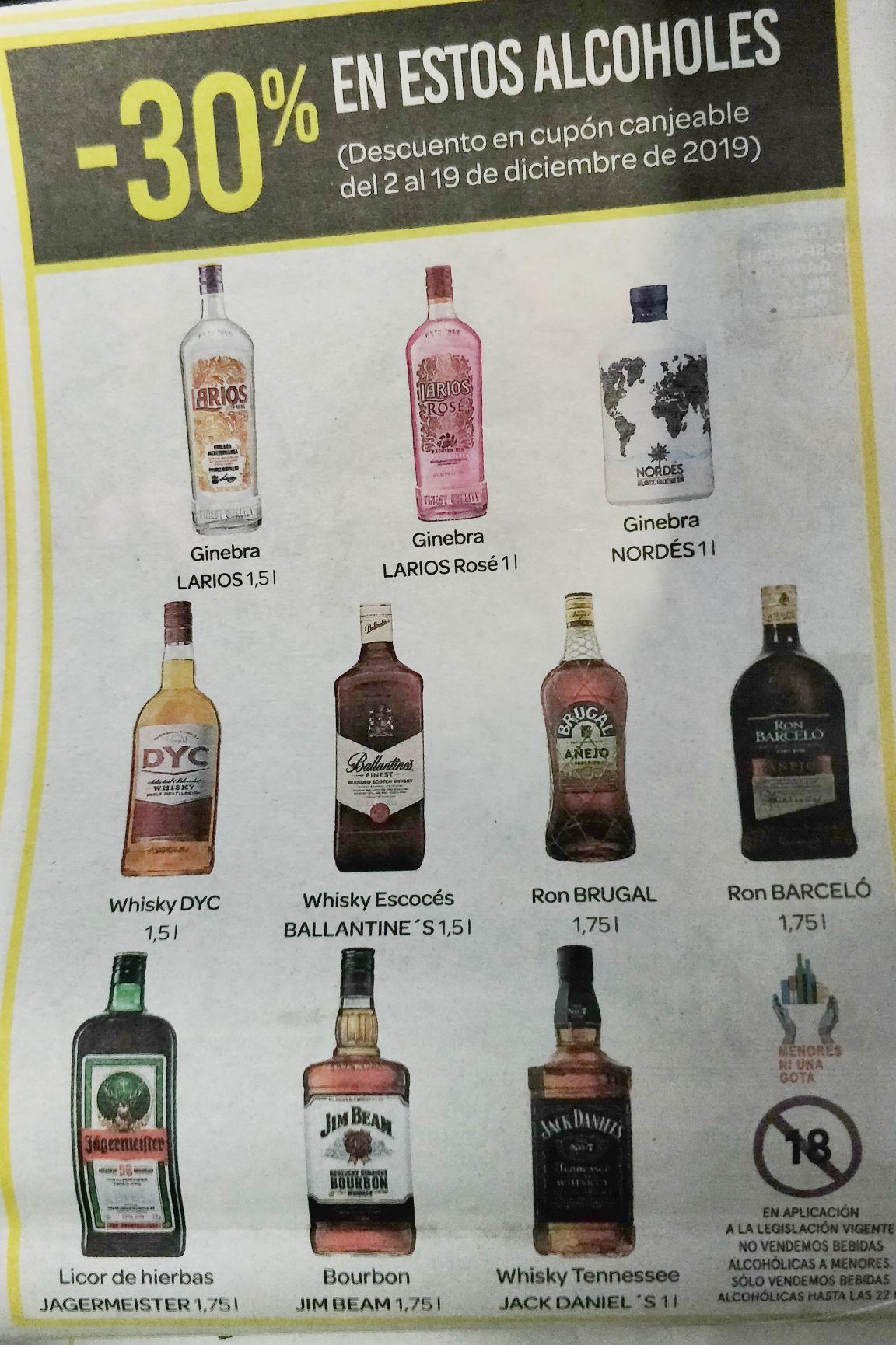 30% en cupón canjeable en estos alcoholes