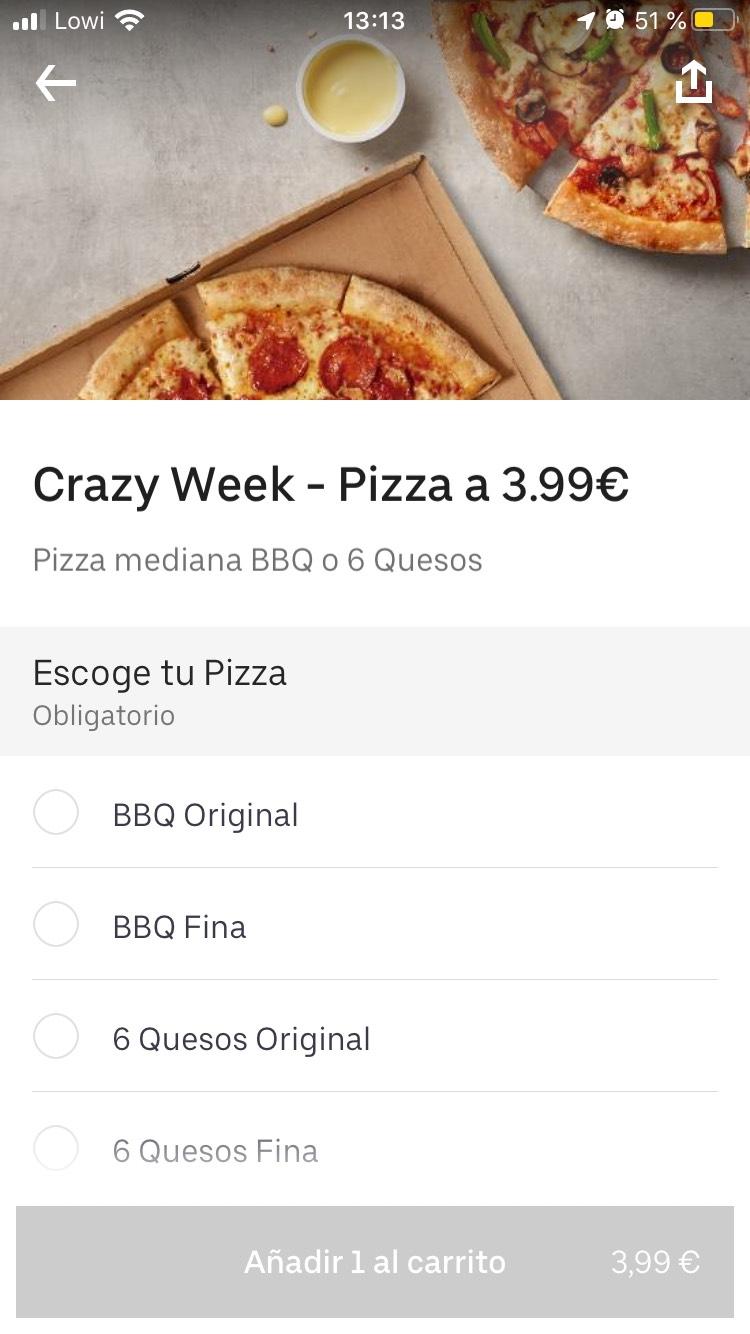 Pizza de Papa johns 3,99€ en Uber Eats