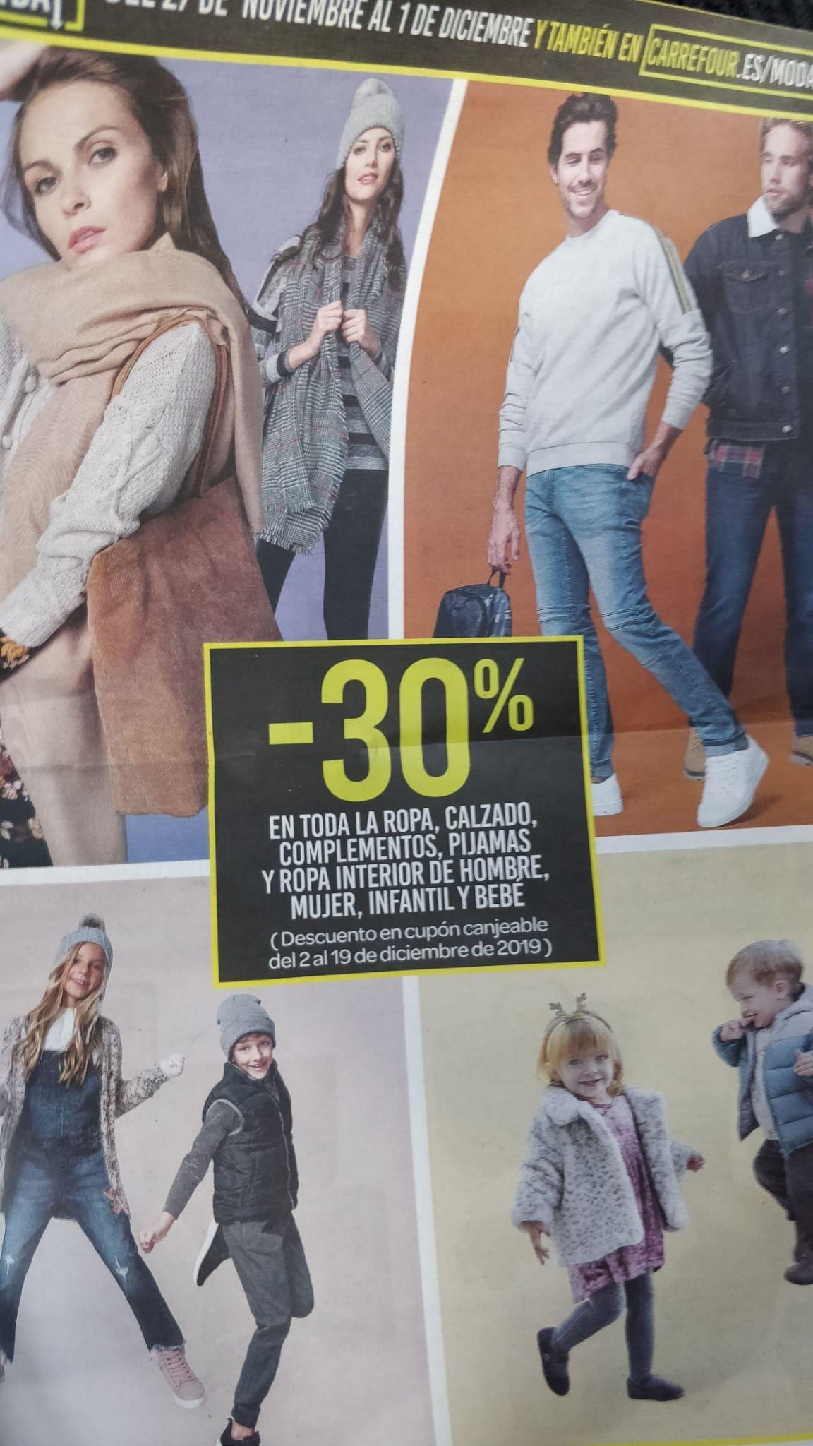 CARREFOUR 30% de descuento en ropa, zapatería y complementos