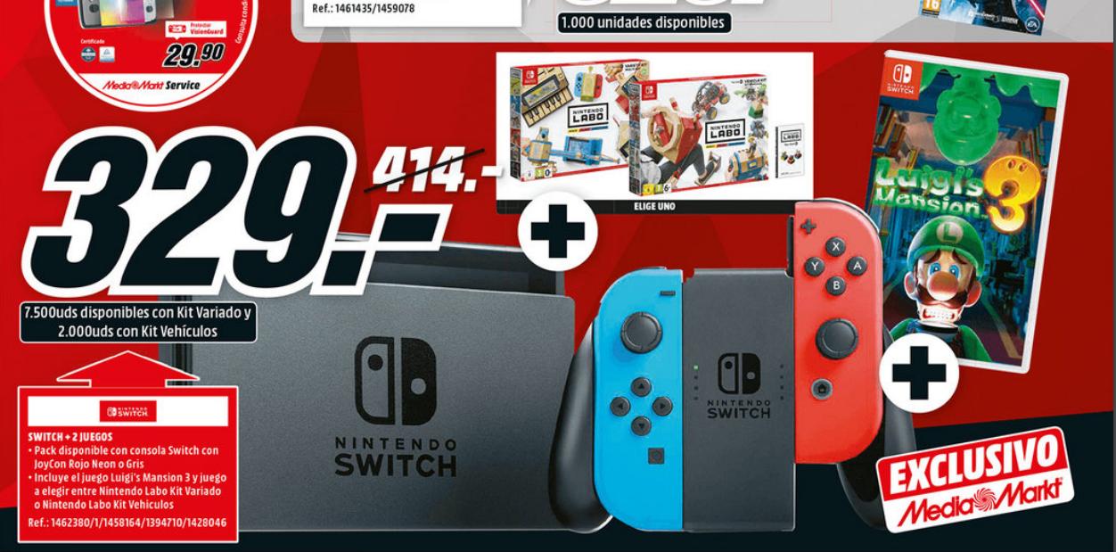 Pack Nintendo switch (creo que es la v1) + 2 juegos (luigi's Mansion + (Labo Variado o Labo Vehiculos))
